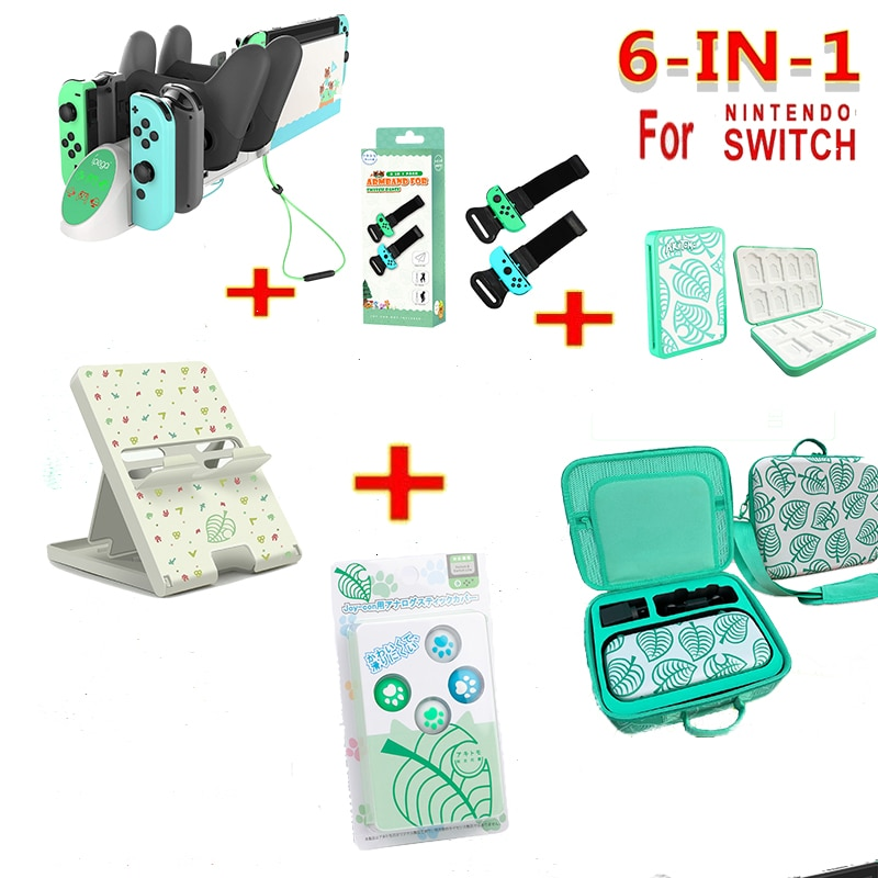 6 in 1 game accessories set For Nintend Switch Animal Crossing Ns Carrying Case Nintend Switch Console Game Accessories Gift
