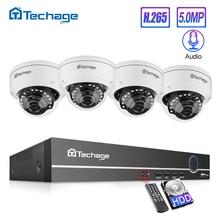 Techage H.265 8CH 5 mp HD   Kit NVR, système de vidéosurveillance POE, Microphone Audio dôme IP, caméra intérieure P2P, ensemble de vidéosurveillance