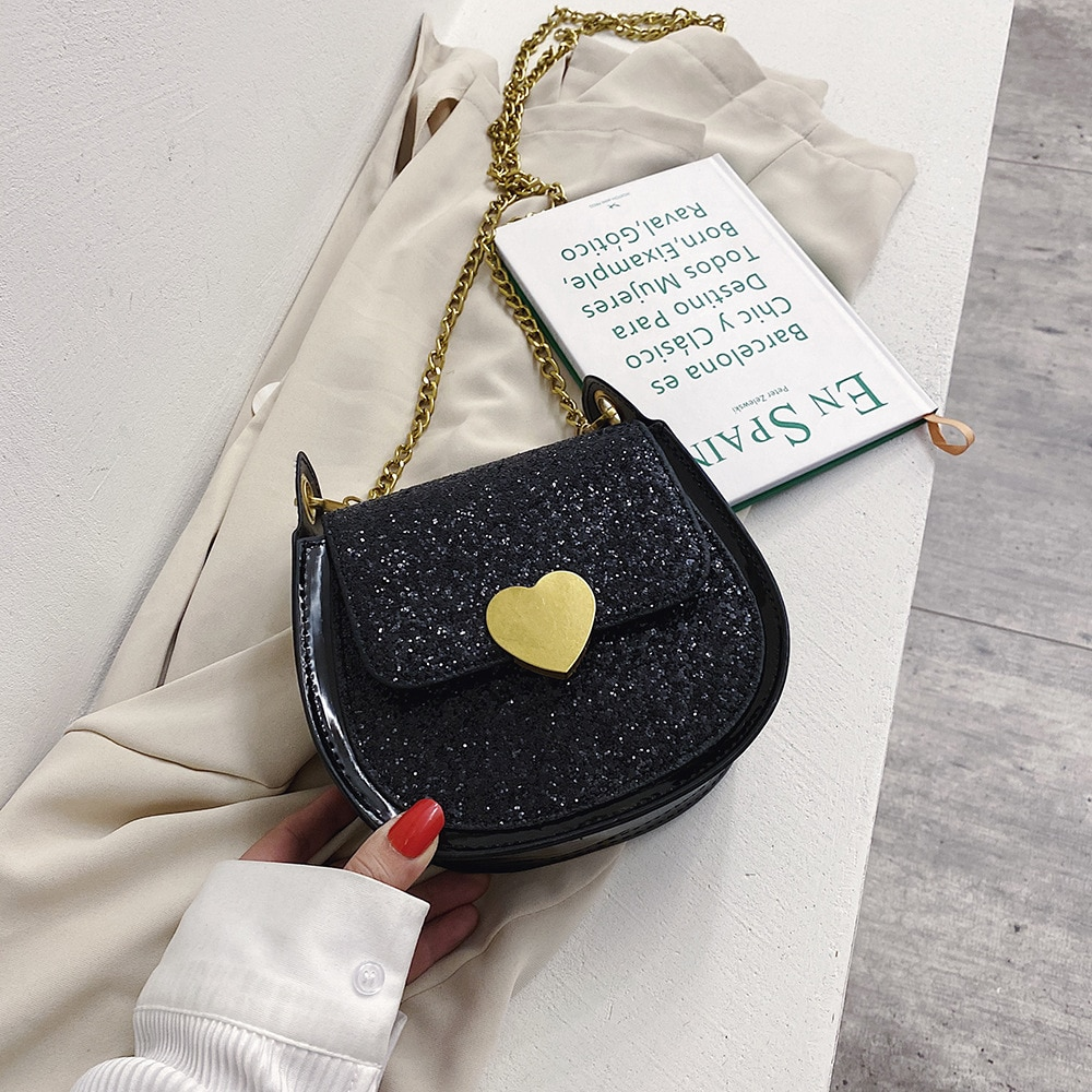 2020 Vintage Sweet Black/red Heart Shape One Shoulder Crossbody Bag For Girl Simple Shining Handbag Cute Student Purse Small Bag