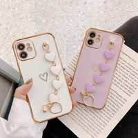 for iphone 12 pro max plating cute love heart chain wrist bracelet phone case for iphone 11 pro max xs max x xr 8 7 plus cover