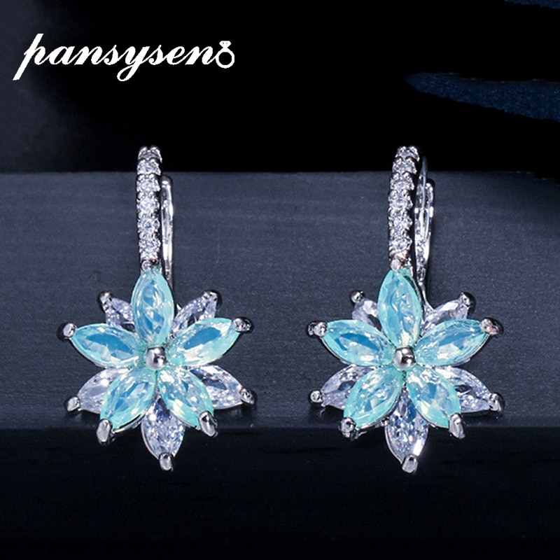 AliExpress - PANSYSEN High Quality Bohemia Topaz Gemstone Clip Earrings for Women Luxury Cocktail Party 925 Silver Fashion Jewelry Earring