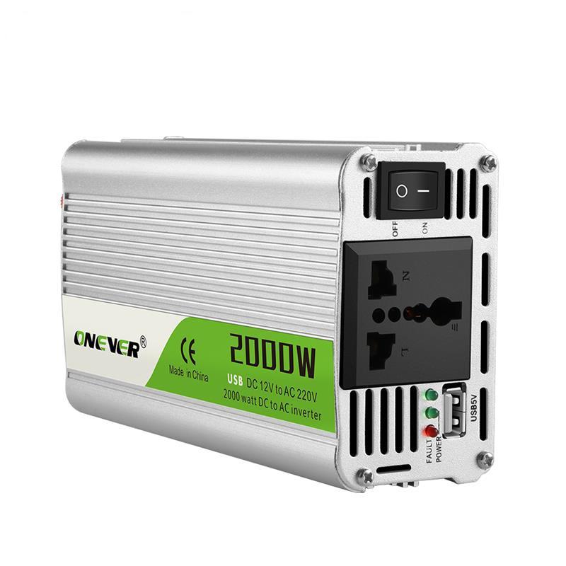 محول طاقة للسيارة ، شاحن USB ، 2000 واط ، 12 فولت تيار مستمر إلى 220 فولت تيار متردد ، محول ، إنذار ، تيار مستمر 12 إلى تيار متردد 220