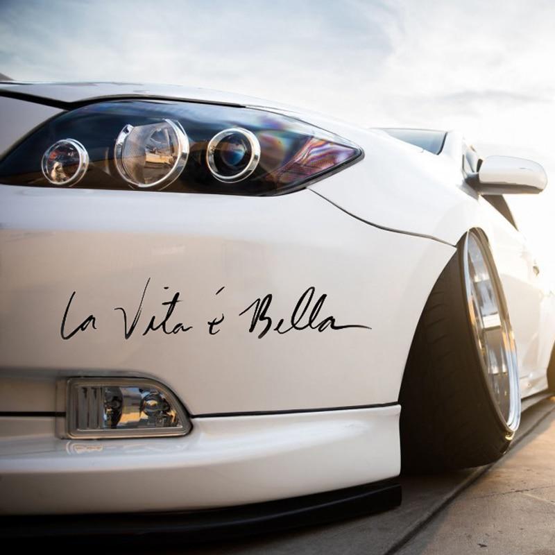 Автомобильные наклейки, стикеры La Vita e Bella, стикеры со светоотражающими надписями, модные креативные стикеры на весь корпус автомобиля
