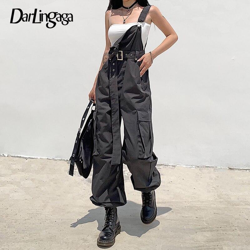 Darlingaga Streetwear suelto mono Cargo mujeres Suspender bolsillos pantalones con cinturón moda sólida monos largos otoño