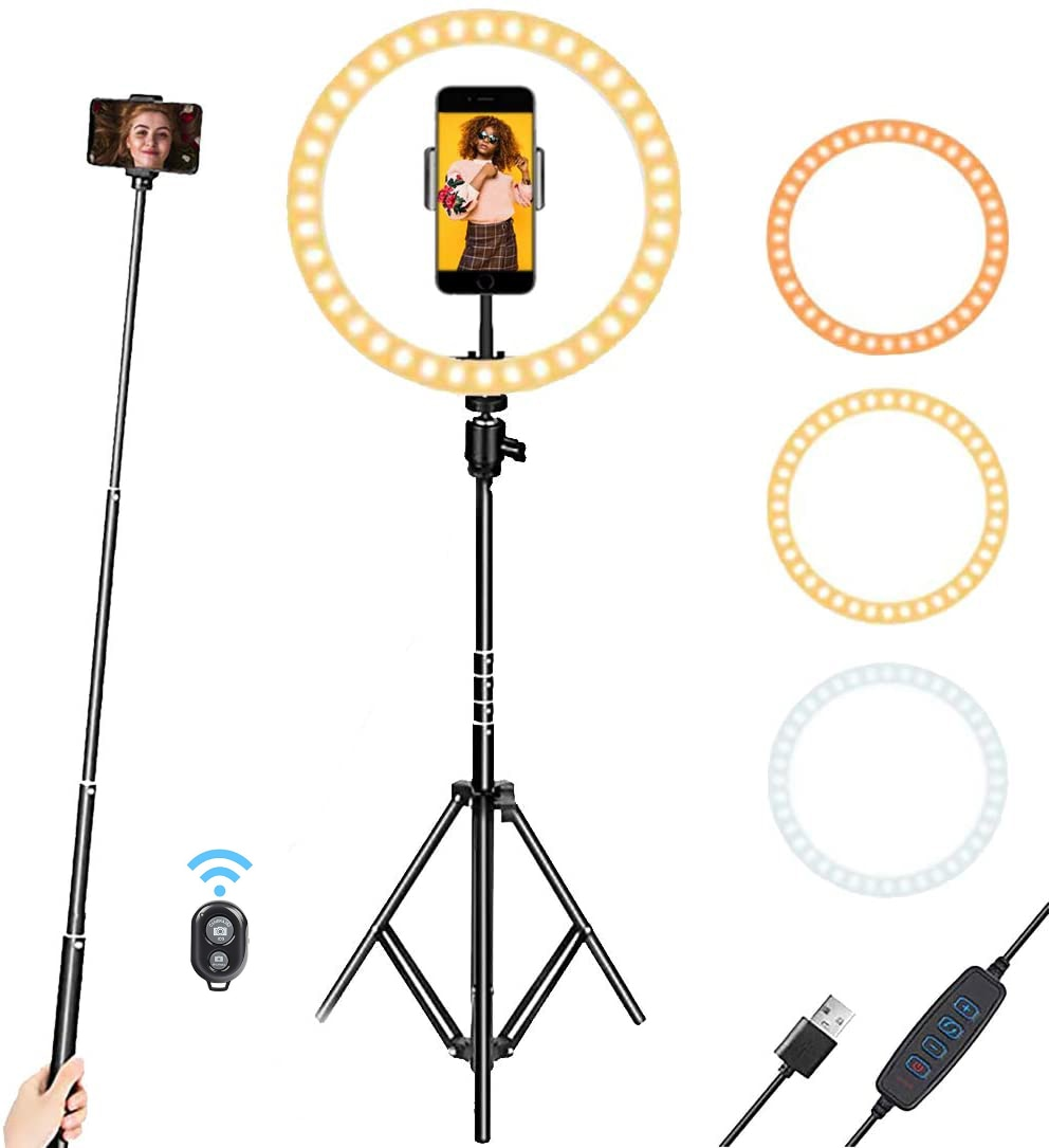 """Anel de luz de anel de selfie de 10 """", com tripé ajustável, suporte de telefone, 3 modos, 10 níveis de brilho para vlogs, transmissão ao vivo youtube"""