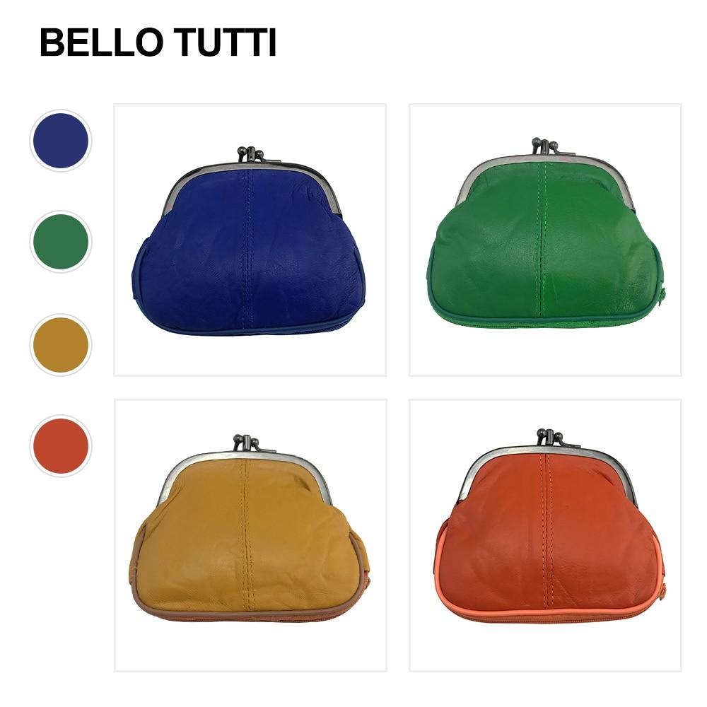 BELLO TUTTI 2021 New Women Mini Coin Purses Genuine Leather Short Key Wallets Men Sheepskin Metal Ha