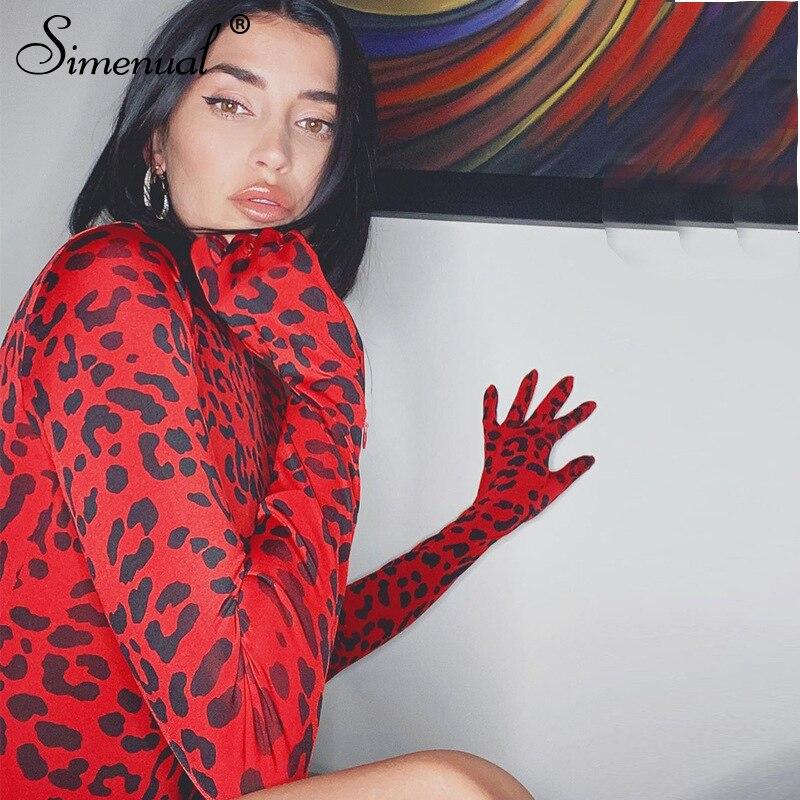 Simenual красный, леопардовая расцветка, пикантная обувь, Для женщин боди с перчатками с длинным рукавом Мода 2019 Осенний комбинезон Горячая с высоким, плотно облегающим шею воротником, облегающие, тонкие, боди