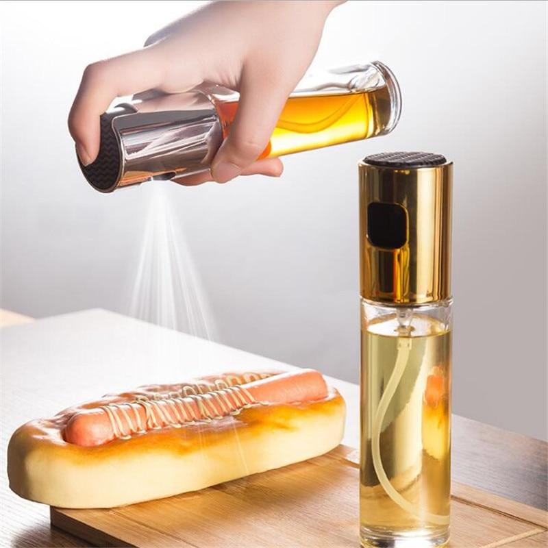 Распылитель оливкового масла 100 мл, бутылка с распылителем масла, стеклянный масляный кастрюль, герметичный диспенсер для масла, чайник для ...