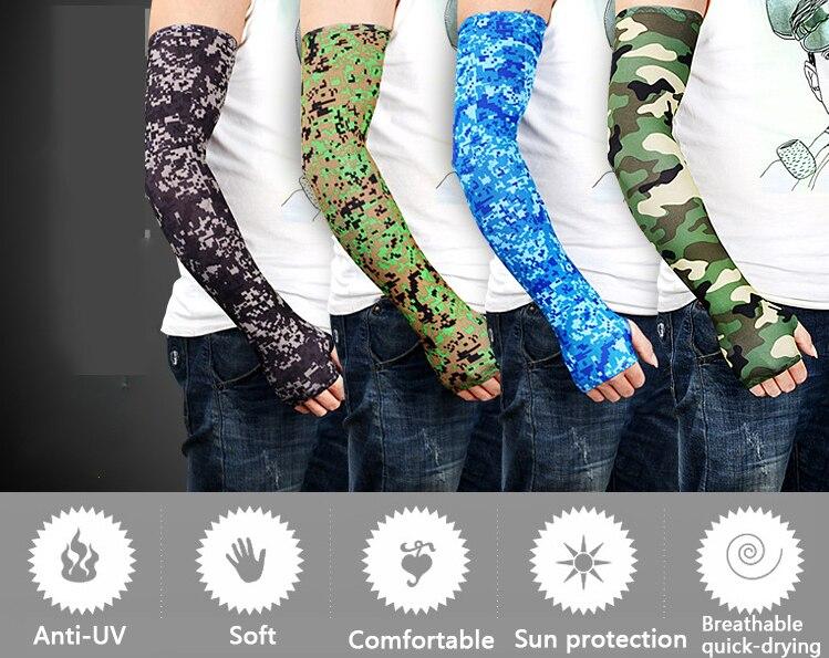 1 par de mangas uv de camuflaje de seda hielo para ciclismo manga larga Protección deportiva para hombres y mujeres pesca transpirable