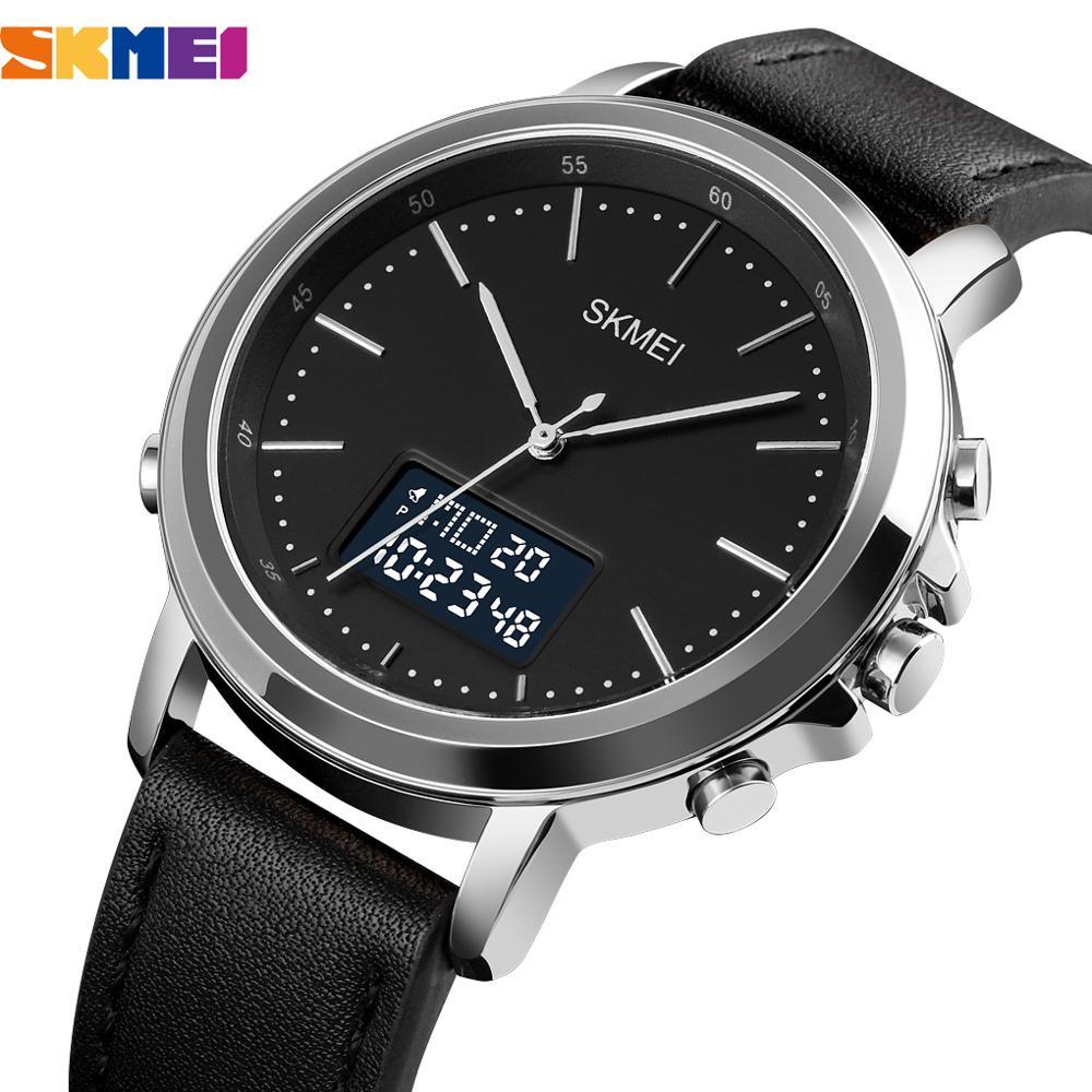 SKMEI Top Brand Men Minimalism Sports Watches Fashion Vintage Leather Strap Electronic Men's Watch Clock Digital Wristwatch 1652