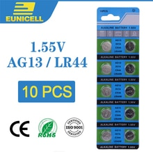Eunicell 10 stücke Alkaline Zell Münze Batterie 1,55 V AG13 LR44 Taste Batterien LR1154 SR44 A76 357A 303 357 AG 13 für Uhr Spielzeug