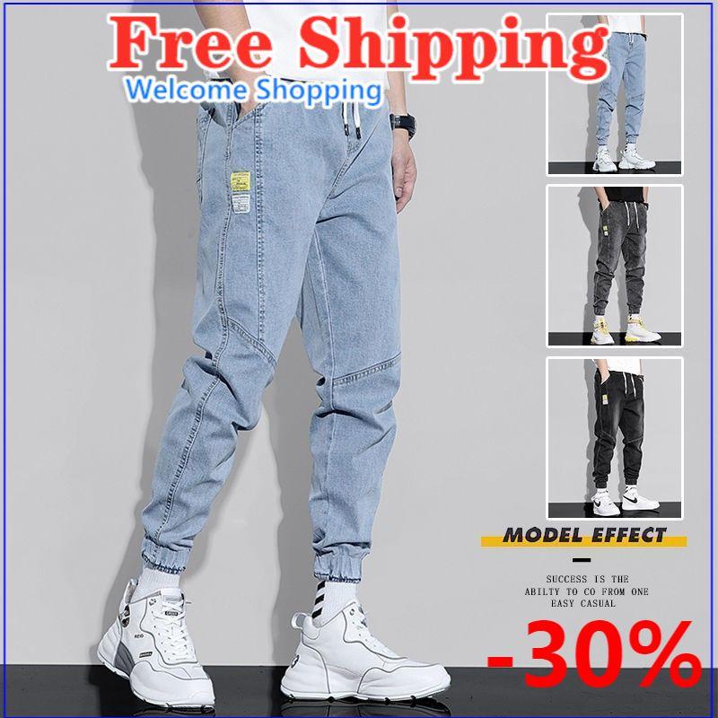 Elastic jeans men's loose waist Korean version of loose workwear casual pencil pants Ankle-length Pants Harem Pants baggy jeans