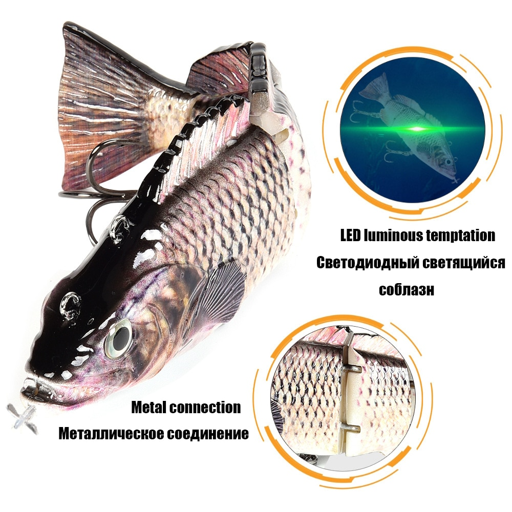 Robotic Fishing Lures Multi Jointed Bait 4 Segments Auto Electric Wobblers For Pike Swimbait USB Rechargeable LED Light Swimming enlarge