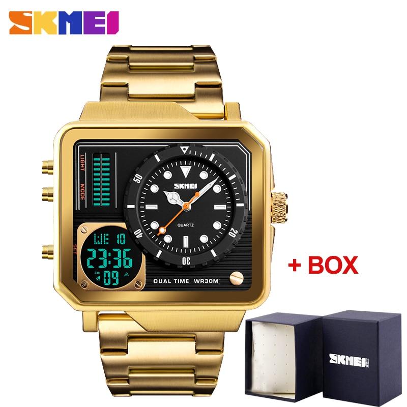 Men's Quartz Digital Watches SKMEI Sports Electronic Male Clock Waterproof Stainless Steel Strap Wristwatch Relogio Masculino