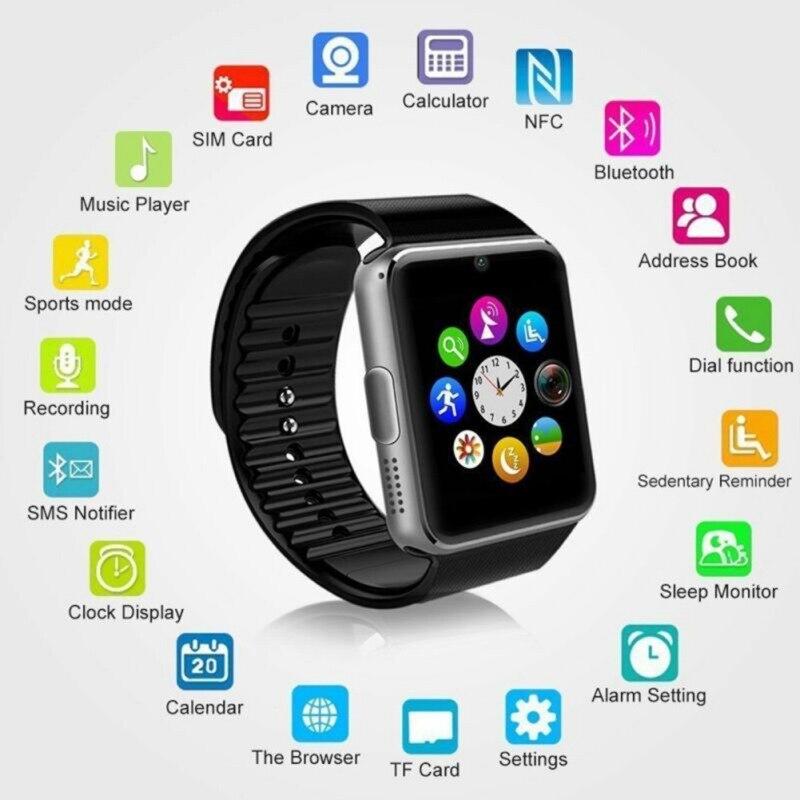 GT08 Bluetooth Смарт-часы Сенсорный экран большой батарея поддержка TF SIM карты подходит для iPhone, Android Смарт часы PK DZ09 часы