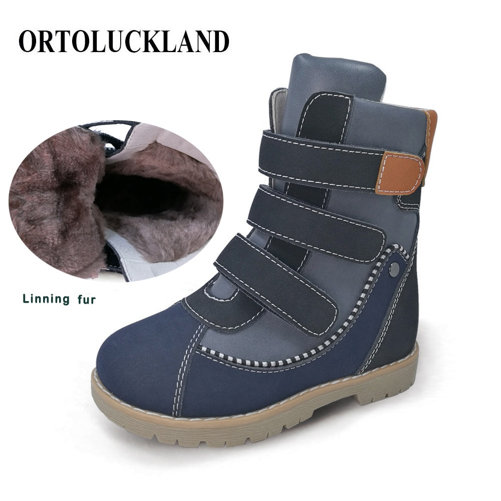 Ortoluckland Kids Casual Shoes Winter Plush Knight Boots For Boys Girls Children Classic Orthopedic Round Toe Clubfoot Footwear boots tiflani 10924830 baby shoes footwear of boys and girls for kids