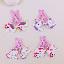 Pince à cheveux licorne cheval pour enfants   2 pièces/ensemble jolis épingles à cheveux de dessin animé, coiffe de tête, accessoires pour cheveux