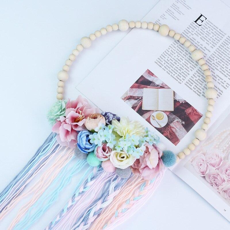 Estilo nórdico cuentas de madera Bola de Pelo guirnalda borla decoración de pared Niña Accesorios para el cabello accesorios de fotografía
