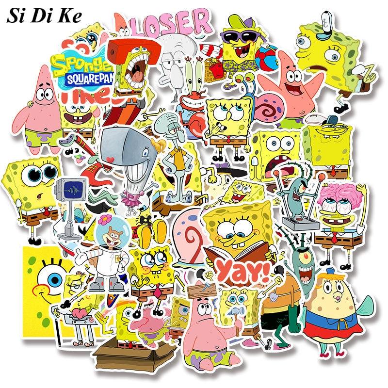Si Di Ke 50 Uds dibujo de Bob Esponja para niños Skateboard garabateado teléfono móvil Shell Trolley Box pegatinas impermeables