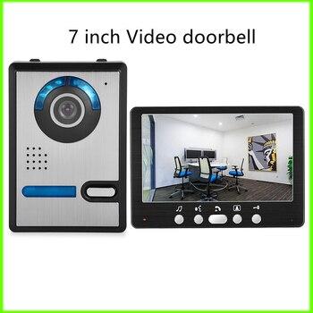Video Intercom Doorbell 7 inch Screen TFT LCD Wired Home Outdoor Monitor HD Night Vision Camera Doorbell Unlock Security System