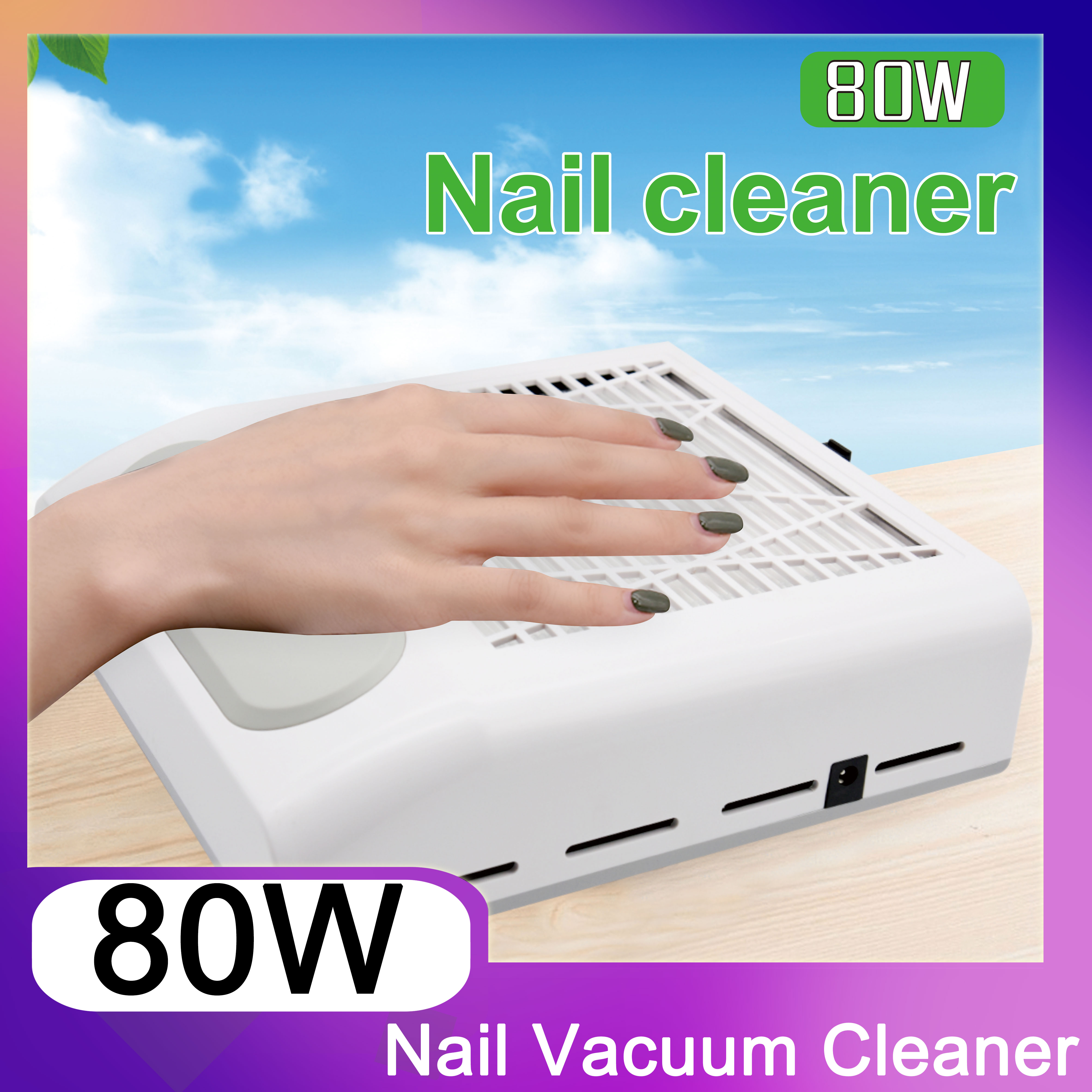 80W Vacuum Nail Dust Collector For Manicure Nails Collector With Fitter Nail Dust Fan Vacuum Cleaner Nail Art Equipment White