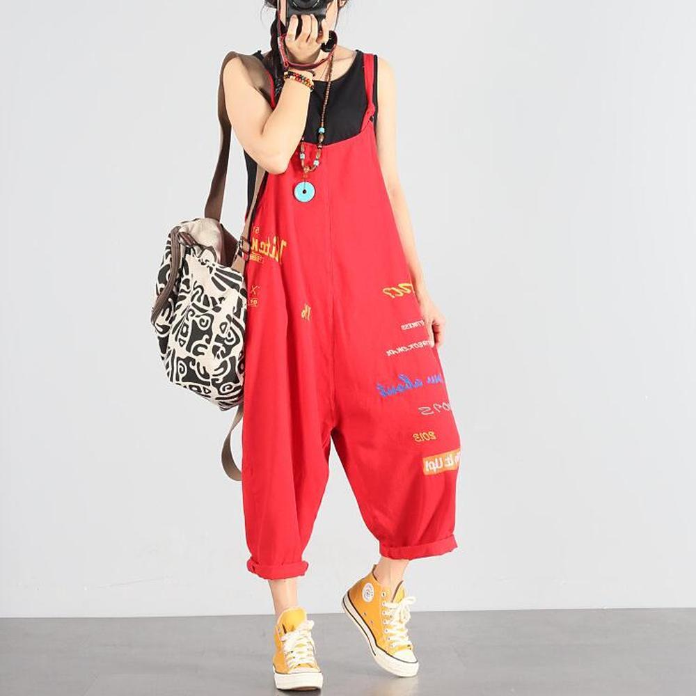 Femmes élégantes jarretelle Spaghetti sangle lettre impression Denim barboteuses sarouel Harajuku salopette femmes Streetwear