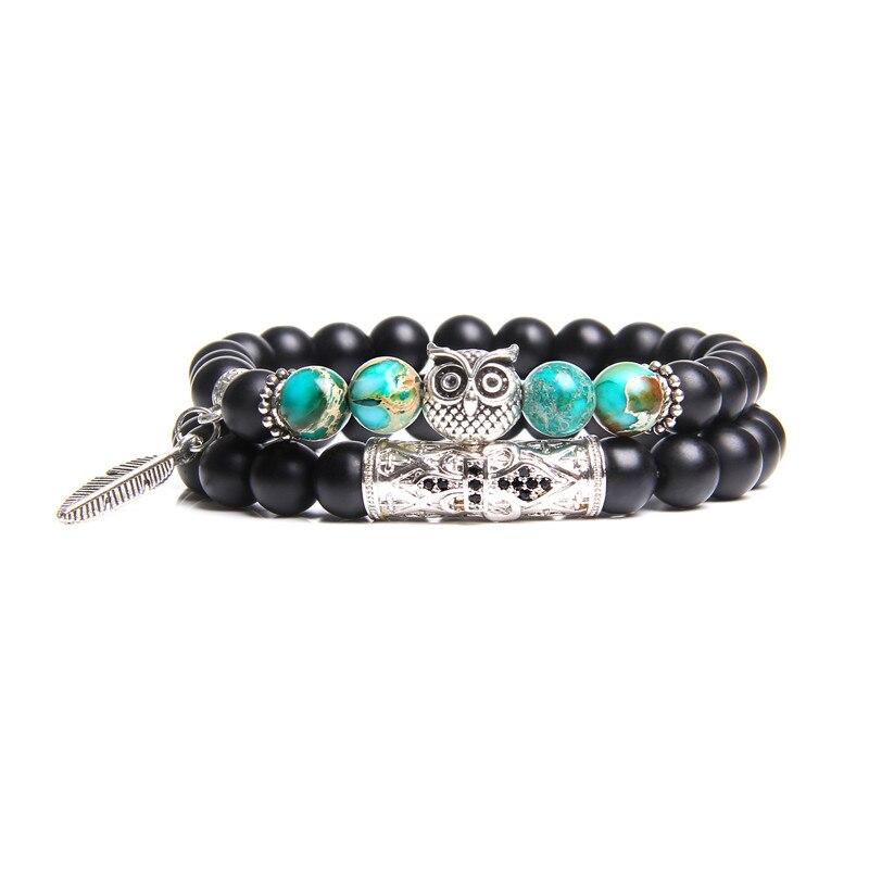 2 шт., браслеты для пар, женский прекрасный браслет с серебряной пластиной, Сова, природный имперский браслет Jaspe Angle Wing, счастливый браслет дл...