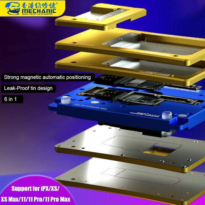 ميكانيك-استنسل 6 في 1 لإعادة لحام BGA لأجهزة iPhone X/XS/XS MAX/11/11 Pro/11Pro MAX ، لوحة أم بإطار مركزي ، قاعدة من القصدير للزراعة