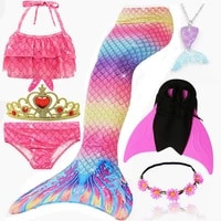 24 colors 7pcsset mermaid tail swimsuits with monofin for kids girls swimming party dress costumes with crown mermaid necklace