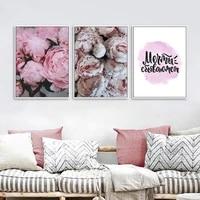 Peinture sur toile avec fleur de pivoine rose  affiche dart mural Floral de Style scandinave  decor de maison pour salon