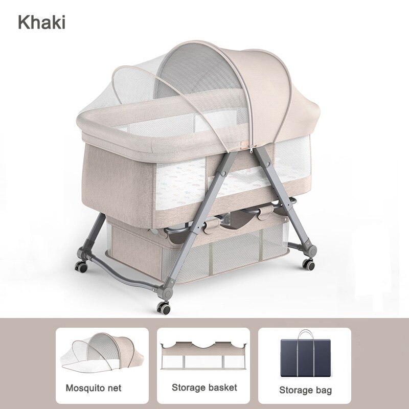 Convertible Baby Cribs 2-in-1 Infant Bed Portable Rocking Cradle Sleeper Bedside Travel Cot Mobile Beds for Newborn Toddler