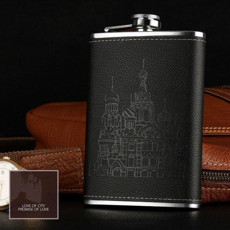 Frascos planos de acero inoxidable para hombres y mujeres, frasco de whisky...