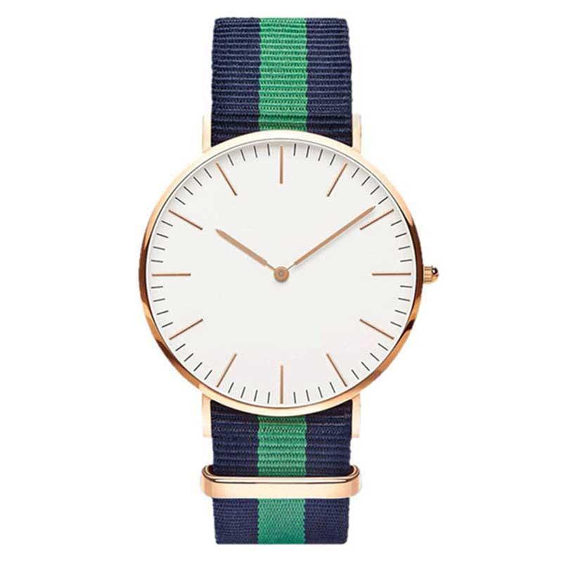 Fashion Canvas Strap Women Quartz Watch Luxury Men Nylon Buckle Watches Creative Geneva Dial Couple