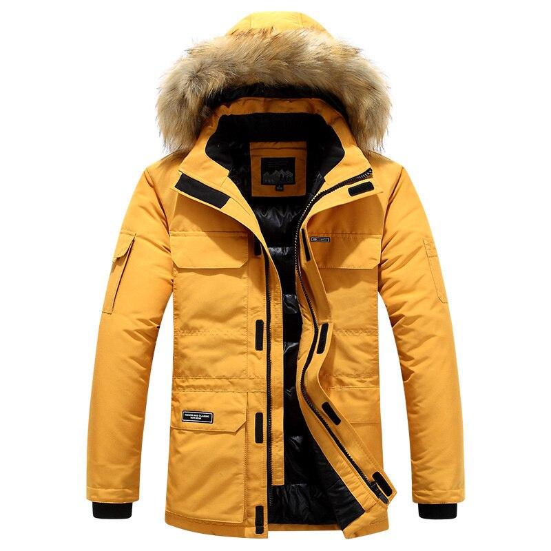 Парка мужская с капюшоном, модная теплая хлопковая куртка на меху, зимняя ветровка с капюшоном, до-30 градусов