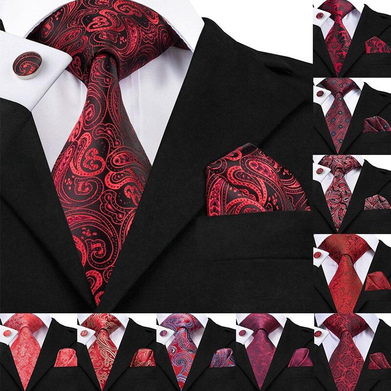 12 Style Red Paisley Luxury Silk Men Tie Set for Men Business Party Wedding Red Tie Handkerchiefs Cufflinks Set Male Necktie