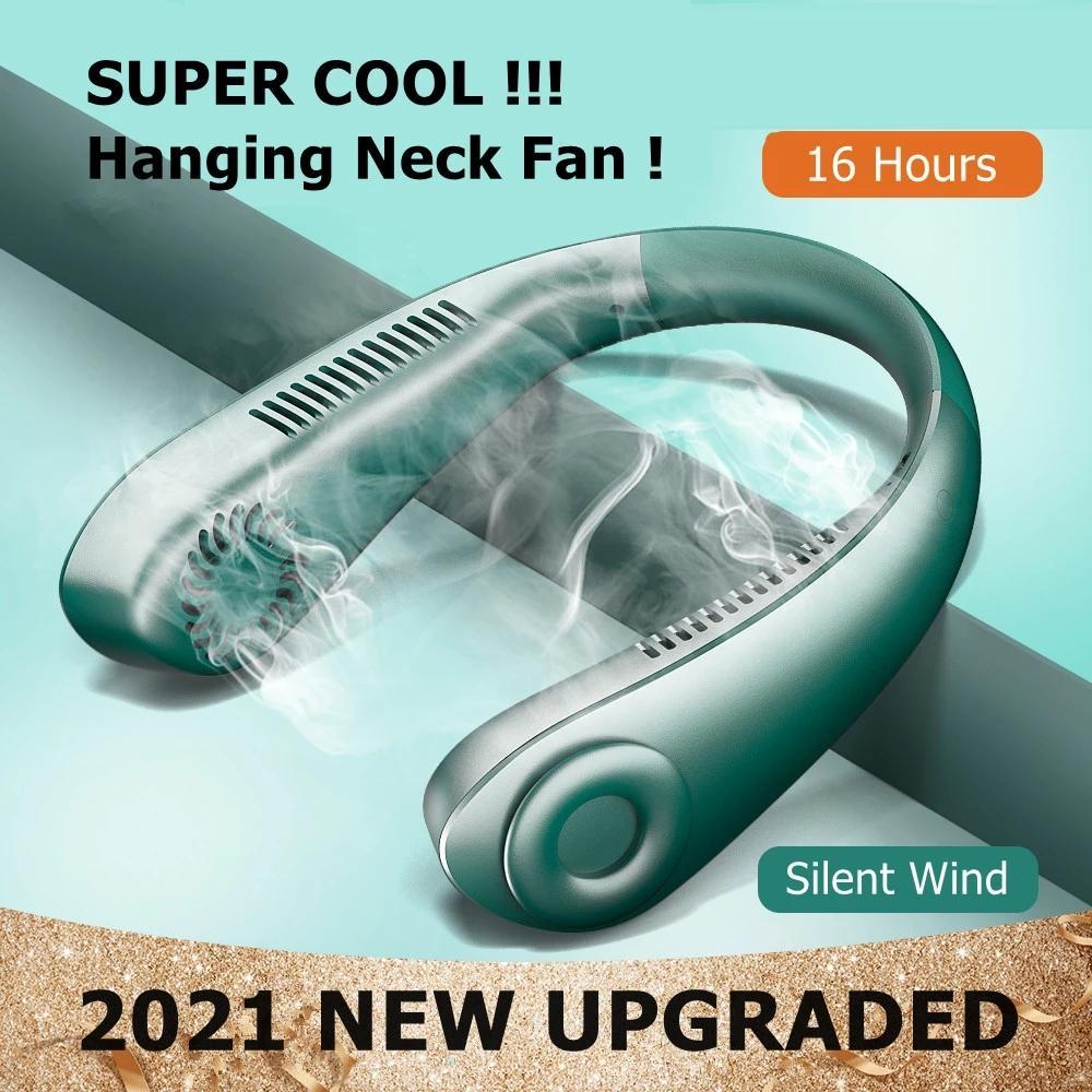 Mini ventilador de cuello de verano, ventilador portátil sin cuchillas, ventiladores de...
