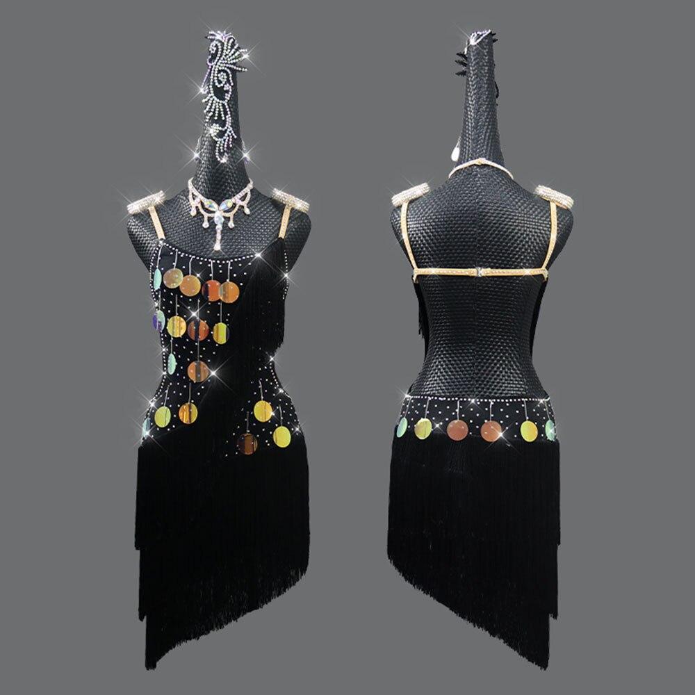جديد اللاتينية ملابس رقص عرض المنافسة شرابة فستان 2021 الشتاء المرأة الأطفال مطرزة المهنية زهرة فستان