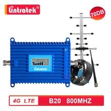 Lintratek 4G LTE 800mhz bande 20 amplificateur cellulaire 800 répéteur Signal Booster 4G Internet et voix Yagi antenne ensemble 70db gain 7