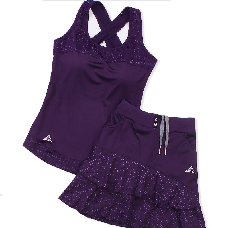 Women Summer Tennis Suit Women Suit Skirt Pants Quick Dry Two-piece Set Team Sports Badminton Padded Vest Skirt