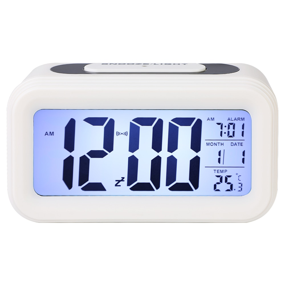 LED Digital Alarm Clock Electronic Clock Smart Mute Backlight Display Temperature & Calendar Snooze