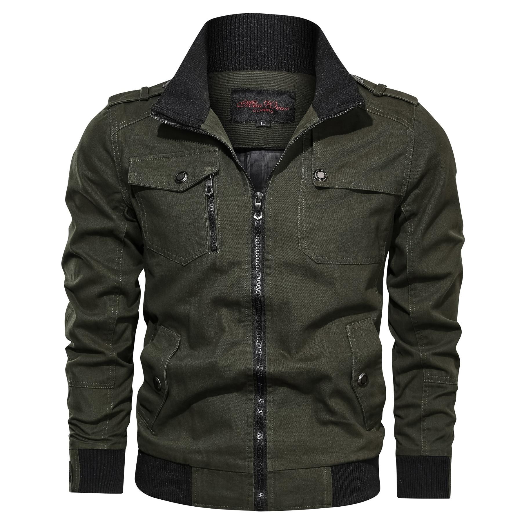 Весна-Осень 2021, мужская куртка-бомбер, куртка в стиле милитари, Мужская демисезонная хлопковая ветровка, пальто-бомбер в стиле милитари, муж...