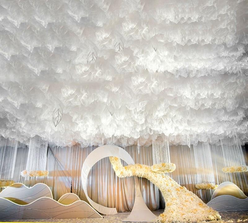 رومانسية الزفاف خلفية ديكو الثلوج الشاش الستائر مرحلة الحفلات الدعائم سقف علوي ديكور تول قماش ستارة سحابة الموضة تول