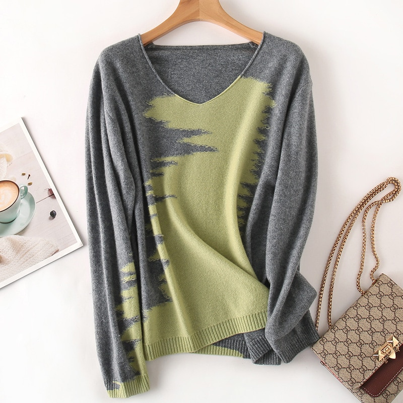 Women Pullovers 100% Merino Wool Knitted Jumpers Hot Sale V-neck 3Colors Long Sleeve Female Pure Wool Knitwear enlarge