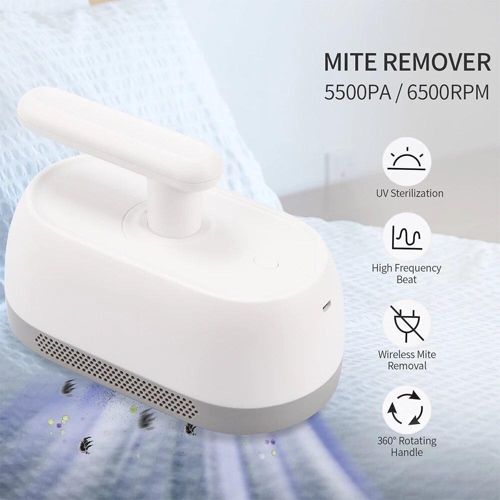 Инструмент для удаления клещей Ручной пылесос для удаления клещей 5500 ПА Мощное всасывание клещей уф стерилизация для кровати