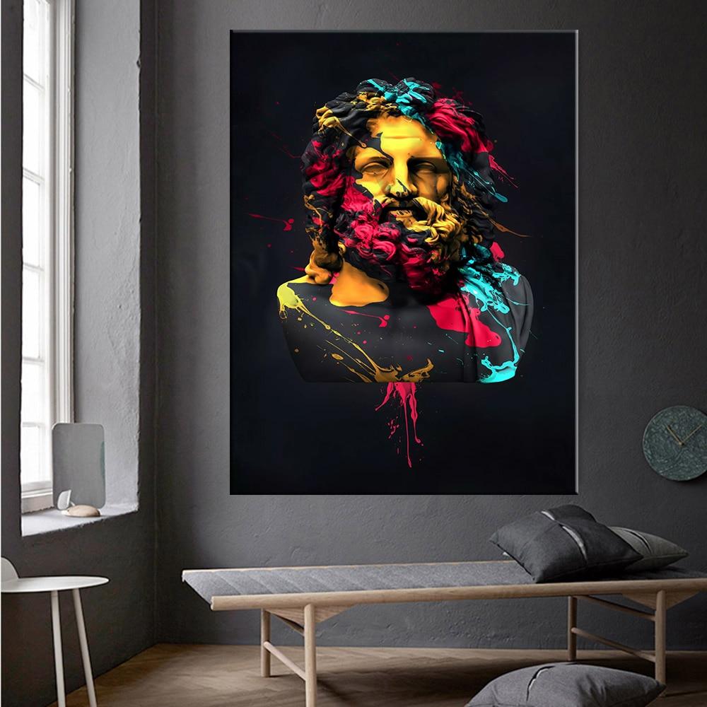 Escultura de Zeus de la mitología griega, pintura al óleo sobre lienzo Zeus, Póster Artístico de pared e impresiones, imagen para la decoración del hogar de la sala de estar