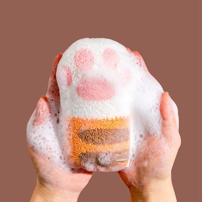 Esponja de baño suave exquisita, esponja de baño elástica Linda pata de gato, brocha de baño corporal de bebé adulto, cepillo exfoliante limpiador de piel muerta