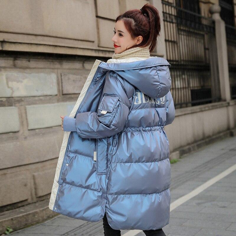 معطف شتوي دافئ لامع للنساء ، جاكيت متوسط الطول ، عصري ، نحيف ، للترفيه في الهواء الطلق ، الأكثر مبيعًا