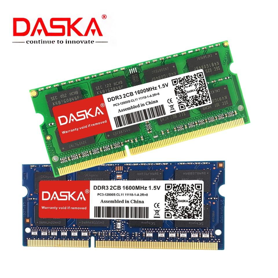 DASKA Laptop ram DDR3 2GB 4GB 8GB 1600/1333 MHz SO-DIMM DDR 3 Notebook Memory 204pin 1.35V-1.5V Lifetime Warranty