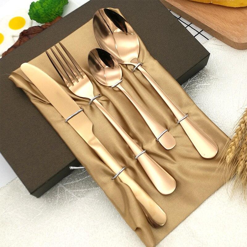 Faqueiro dourado de aço inoxidável, conjunto de talheres de cozinha luxuoso, faca para churrasco europeu, faqueiro dourado, utensílios de mesa di50dc