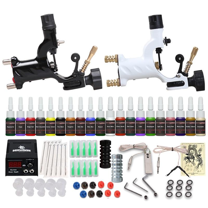 2021 New Beginner Tattoo Starter Kits 2 Rotary Tattoo Machines Guns  Sets Power Supply Needles Top Tattoo Free Shipping